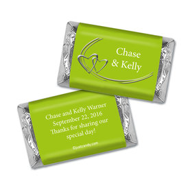 Wedding Favor Personalized Hershey's Miniatures Wrappers Linked Hearts