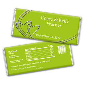 Wedding Favor Personalized Chocolate Bar Linked Hearts