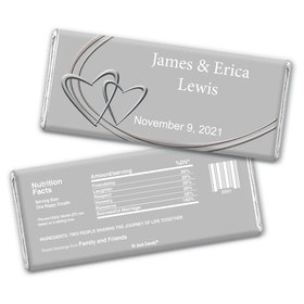 Wedding Favor Personalized Chocolate Bar Wrappers Linked Hearts