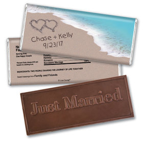 Wedding Favor Personalized Embossed Chocolate Bar Names and Hearts in Sand Sea Shore