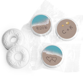 Wedding Favor Personalized Life Savers Mints Names and Hearts in Sand Sea Shore
