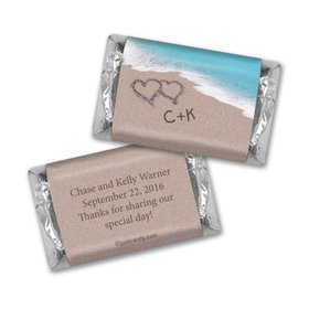 Wedding Favor Personalized Hershey's Miniatures Wrappers Names and Hearts in Sand Sea Shore