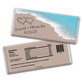 Wedding Favor Personalized Chocolate Bar Wrappers Names and Hearts in Sand Sea Shore
