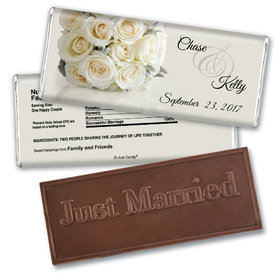 Wedding Favor Personalized Embossed Chocolate Bar White Roses Bouquet