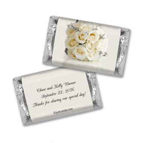 Wedding Favor Personalized Hershey's Miniatures Wrappers White Roses Bouquet