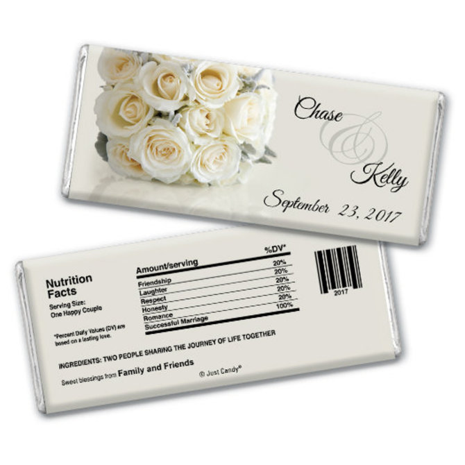 Wedding Favor | Personalized Chocolate Bar | White Roses Bouquet