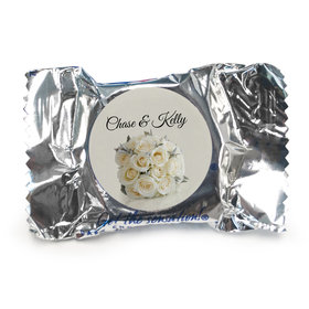 Wedding Favor Personalized York Peppermint Patties White Roses Bouquet (84 Pack)