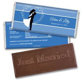 Personalized Wedding Reception Favors Embossed Just Married Chocolate Bar