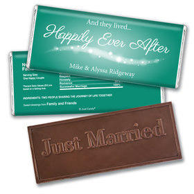 "Wedding Favor Personalized Embossed Chocolate Bar ""Happily Ever After"""