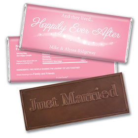 """Wedding Favor Personalized Embossed Chocolate Bar """"Happily Ever After"""""""