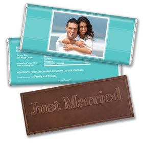 Wedding Reception Favors Personalized Embossed Chocolate Bar Photo