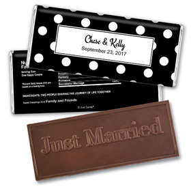 Wedding Favor Personalized Embossed Chocolate Bar Polka Dots