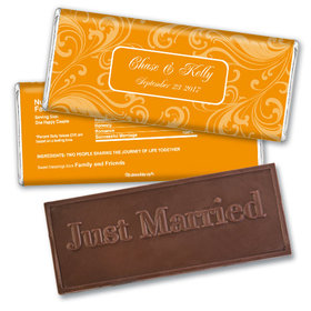Wedding Favor Personalized Embossed Chocolate Bar Filigree