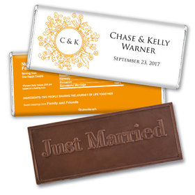 Wedding Favor Personalized Embossed Chocolate Bar Monogram Flower Seal