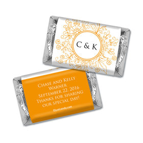 Wedding Favor Personalized Hershey's Miniatures Wrappers Monogram Flower Seal