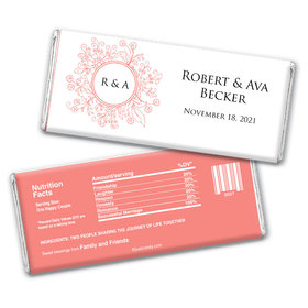 Wedding Favor Personalized Chocolate Bar Wrappers Monogram Flower Seal