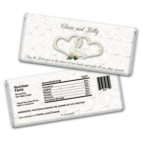 Wedding Favor Personalized Chocolate Bar Two Hearts Lord's Blessing
