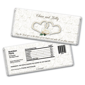 Wedding Favor Personalized Chocolate Bar Wrappers Two Hearts Lord's Blessing