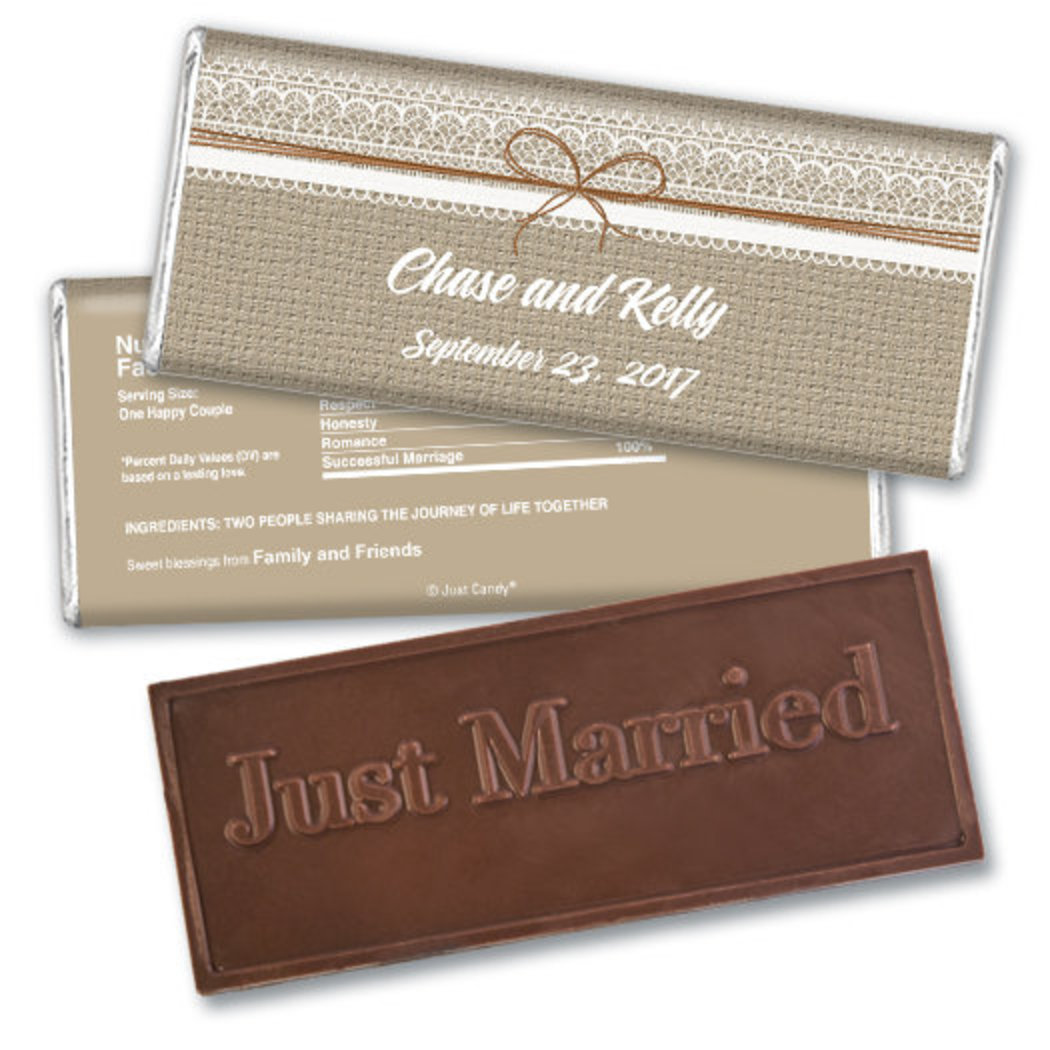 Wedding Favor Personalized Embossed Chocolate Bar Burlap and Lace JCWD0015-EB