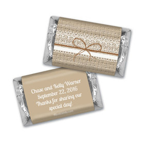 Wedding Favor Personalized Hershey's Miniatures Wrappers Burlap and Lace