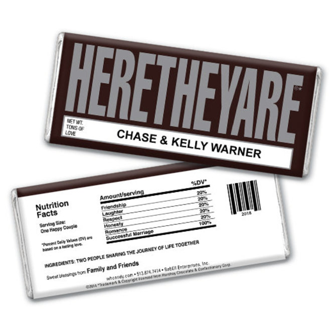 Wedding Favor Personalized Chocolate Bar Heretheyare Here They Are