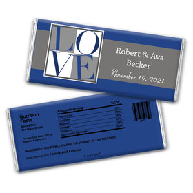 Wedding Favor Personalized Chocolate Bar Wrappers Pop Art Square Love