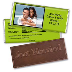 Wedding Favor Personalized Embossed Chocolate Bar Photo & Message