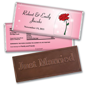 Wedding Favor Personalized Embossed Just Married Chocolate Bar Beauty and Beast Rose