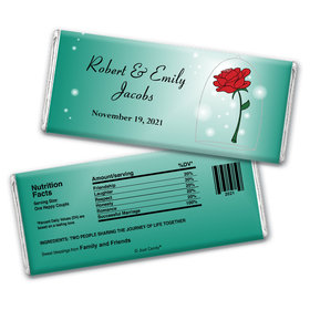 Wedding Favor Personalized Chocolate Bar Beauty and Beast Rose
