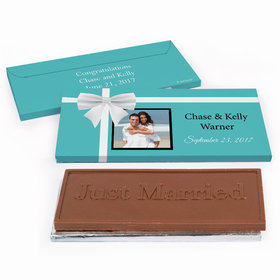 Deluxe Personalized Wedding Tiffany Style Chocolate Bar in Gift Box