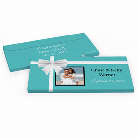 Deluxe Personalized Wedding Tiffany Style Hershey's Chocolate Bar in Gift Box