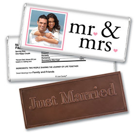 Wedding Favor Personalized Embossed Chocolate Bar Mr & Mrs Photo