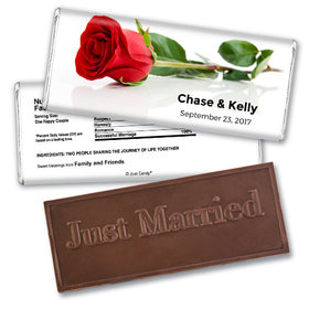 Wedding Favor Personalized Embossed Chocolate Bar One Red Rose