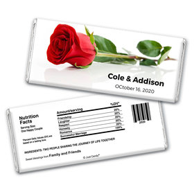 Wedding Favor Personalized Chocolate Bar Wrappers One Red Rose