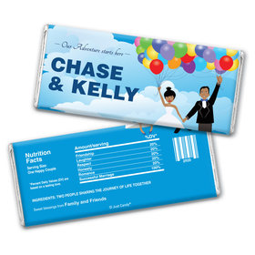 Wedding Favor Personalized Chocolate Bar Wrappers Bride and Groom Up Theme