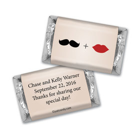 Wedding Favor Personalized Hershey's Miniatures Mustache and Lips