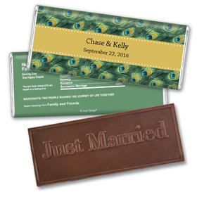 Wedding Favor Personalized Embossed Chocolate Bar Peacock Feathers