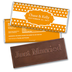Wedding Favor Personalized Embossed Chocolate Bar Small Polka Dots