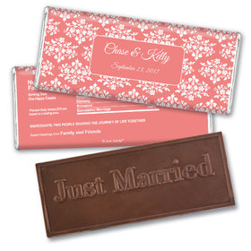 Wedding Favor Personalized Embossed Chocolate Bar Floral Lattice