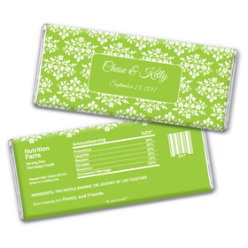Wedding Favor Personalized Chocolate Bar Floral Lattice
