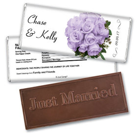 Wedding Favor Personalized Embossed Chocolate Bar Flower Bouquets