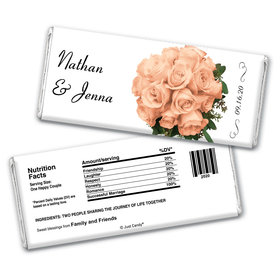 Wedding Favor Personalized Chocolate Bar Wrappers Flower Bouquets