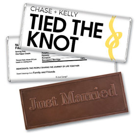 Wedding Favor Personalized Embossed Chocolate Bar Tied The Knot