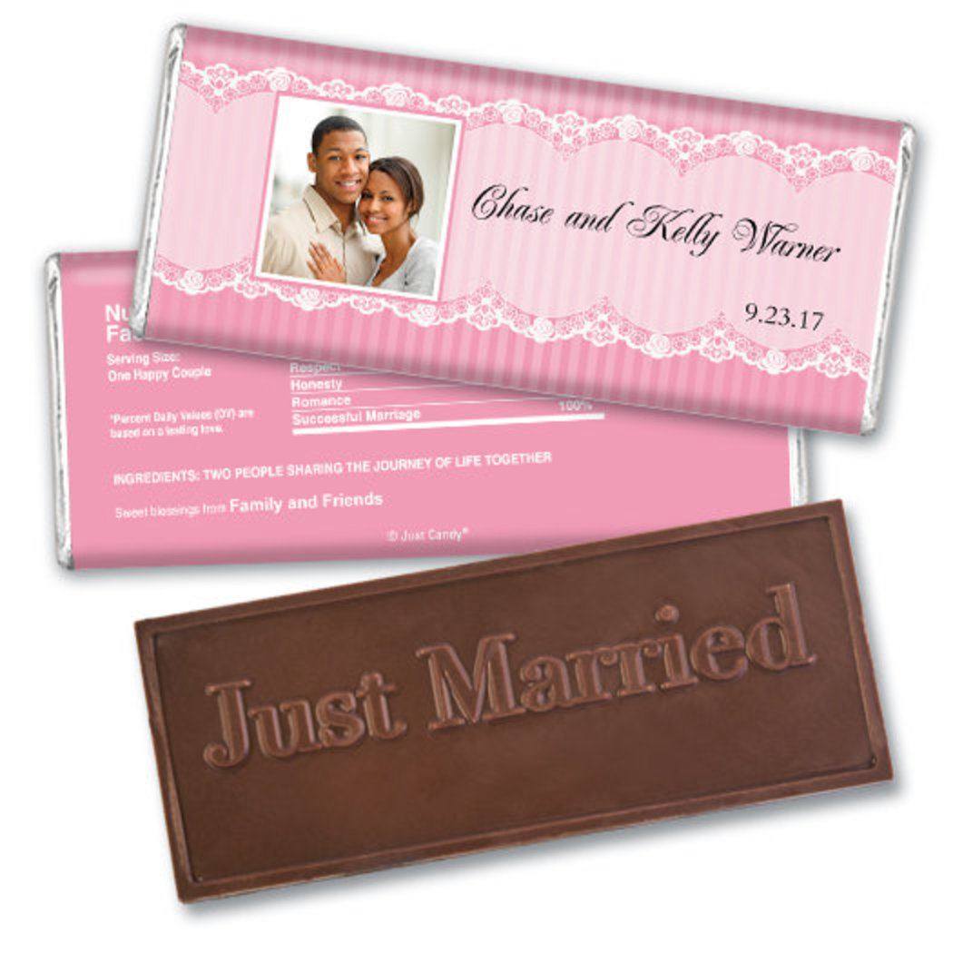 Wedding Favor Personalized Embossed Chocolate Bar Lace Photo JCWD0043-EB-232