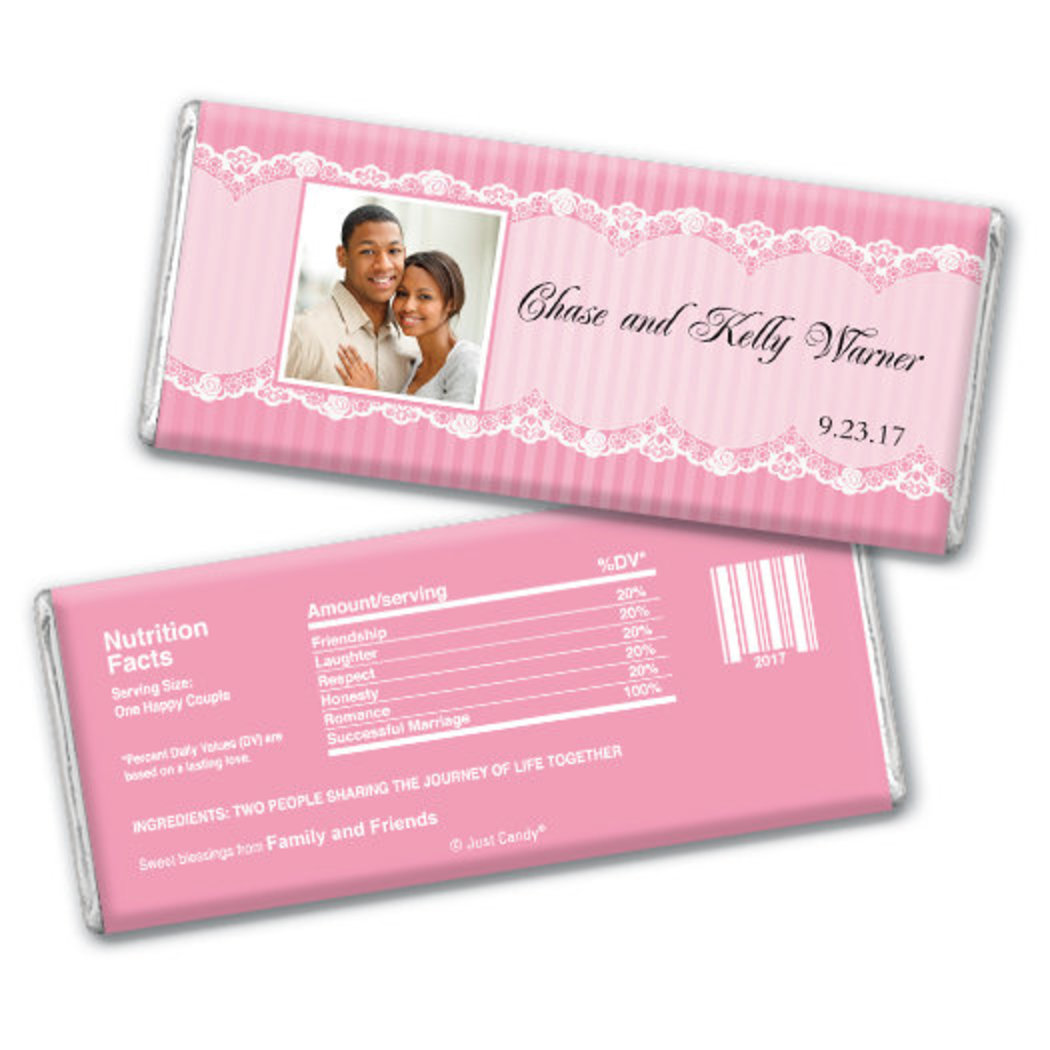 Wedding Favor Personalized Chocolate Bar Lace Photo JCWD0043-SD-235