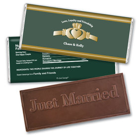 Wedding Favor Personalized Embossed Chocolate Bar Claddagh Heart