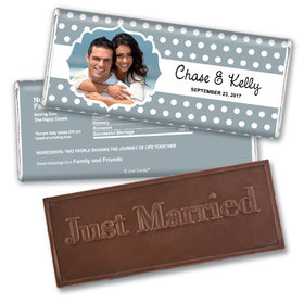 Wedding Favor Personalized Embossed Chocolate Bar Polka Dots Framed Photo