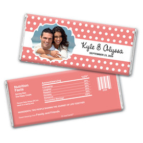 Wedding Favor Personalized Chocolate Bar Wrappers Polka Dots Framed Photo