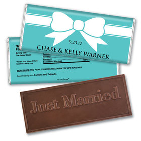 Wedding Favor Personalized Embossed Chocolate Bar Tiffany Theme Bow