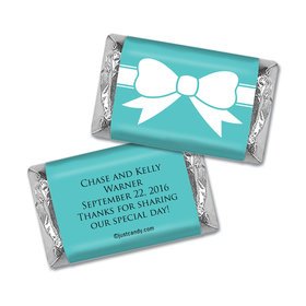 Wedding Favor Personalized Hershey's Miniatures Wrappers Tiffany Theme Bow